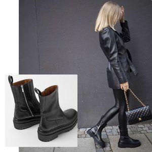 NWT Zara Low Heel Leather Ankle Boots W/Lug Soles